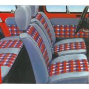 Ensemble de garniture de sièges avant & banquette arrière R4 Skaï Gris & Tissu Rouge/Bleu